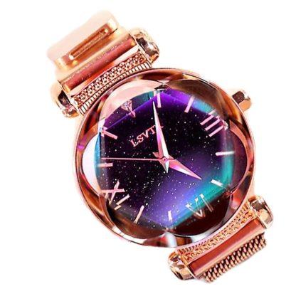 zegarek damski skywatch glamour brokat błyszczący shine gold rose złoty
