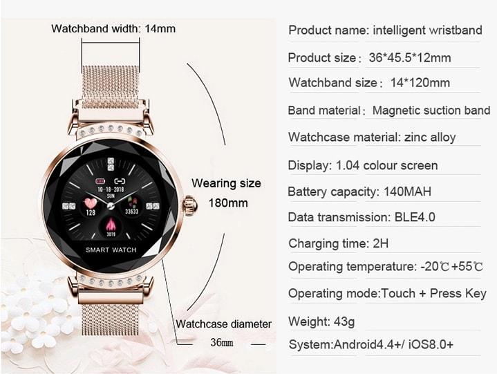 specyfikacja smartwatch damski H2