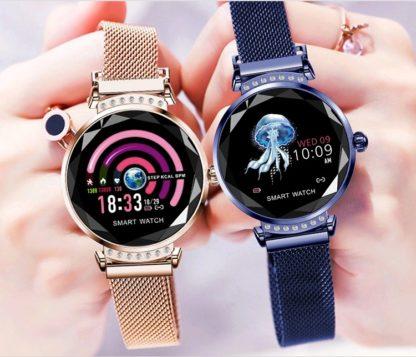 elegancki smartwatch damski złoty i niebieski