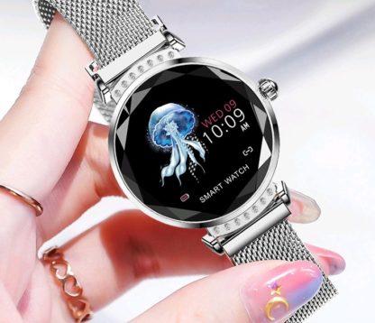 Luksusowy SmartWatch Damski Błyszczący H2 Dla Kobiet Glamour Shine Pulsomierz Cykle