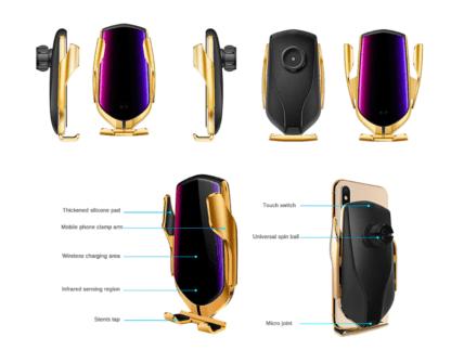 Uchwyt samochodowy do telefonu R1 Złoty z ładowarką bezprzewodową